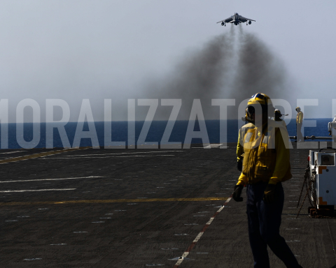 MEDITERRANEAN SEA (August 1, 2016) An AV-8B Harrier II with 22nd Marine Expeditionary Unit (MEU), takes off from the flight deck of the amphibious assault ship USS Wasp (LHD 1) on Aug. 1, 2016. 22nd MEU, embarked on the Wasp is conducting precision air strikes in support of the Libyan Government of National Accord-aligned forces against Daesh targets in Sirte, Libya as part of Operation Odyssey Lightning. (U.S. Marine Corps photo by Cpl. Ryan G. Coleman)