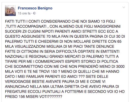 Il post di Francesco Benigno dopo le elezioni